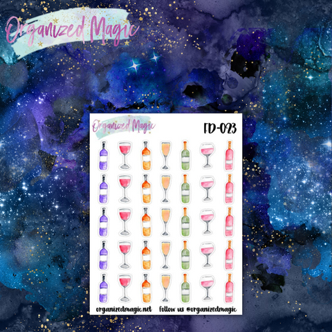 watercolor wine planner stickers