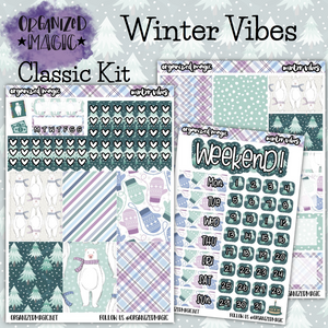 Winter Vibes Classic weekly planner sticker kit