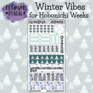 Winter Vibes Hobonichi Weeks planner stickers