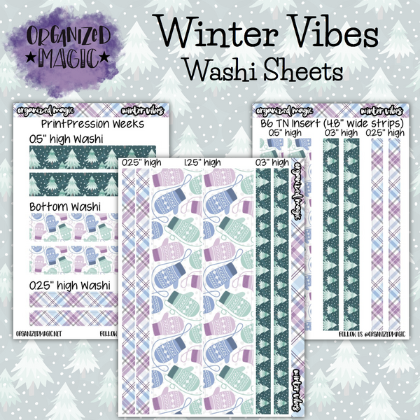 Winter Vibes washi sheet planner stickers
