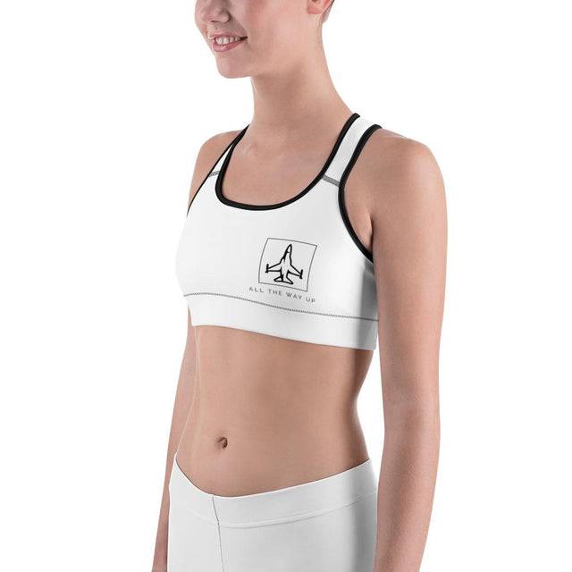 All The Way Up White Sports Bra