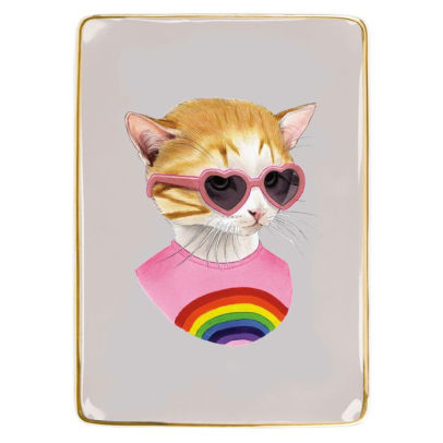 Berkley Bestiary Rainbow Kitten Medium Porcelain Tray