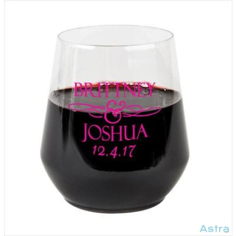 128 Count - Personalized 12oz Plastic Stemless Wine Glass Wedding Favors