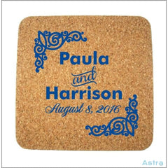 500 Count -Personalized Wedding Favor Cork Drink Coasters, Square