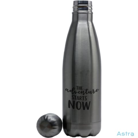 Adventure Starts Coke Bottle Shaped Water Bottle Stainless Silver Drinkware Drinkware Mothers-Day Predrink Premade Sayings $24.95