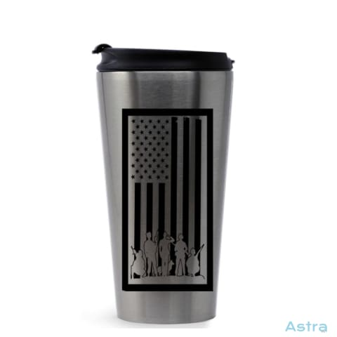 Bordered Flag 16Oz Stainless Steel Tumbler Stainless Silver Drinkware Drinkware Forth Independence-Day Memday Memorial-Day $17.99