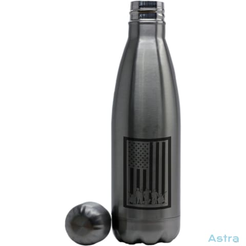 Bordered Flag Coke Bottle Shaped Water Bottle Stainless Silver Drinkware Drinkware Forth Independence-Day Memday Memorial-Day $24.95