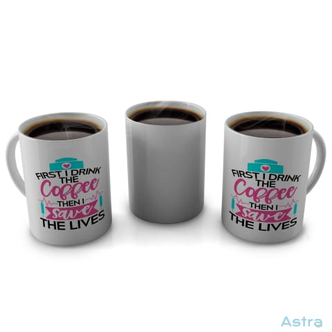 Coffee First 11Oz Coffee Mug Drinkware Blue Ceramic Drinkware Fathers-Day Mothers-Day $14.99 Astraest.com: Astraest