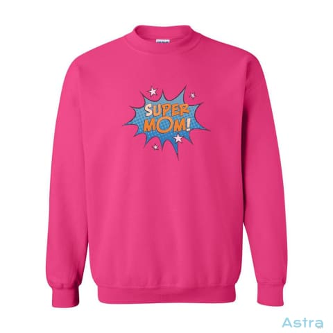 Comic Super Mom Heavy Blend Cotton Crew-Neck Sweatshirt Apparel 10-20 Antique-Sapphire Apparel Birthday Black $19.99 Astraest.com: Astraest