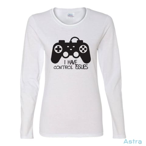 Control Issues Heavy Cotton Womens Long Sleeve T-Shirt Apparel Apparel Black Clothing Fathers-Day Gaming $23.95 Astraest.com: Astraest