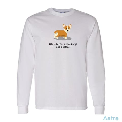 Corgi And Coffee Heavy Cotton Long Sleeve T-Shirt Apparel Apparel Black Clothing Graphite-Heather Long-Sleeve $23.95 Astraest.com: Astraest