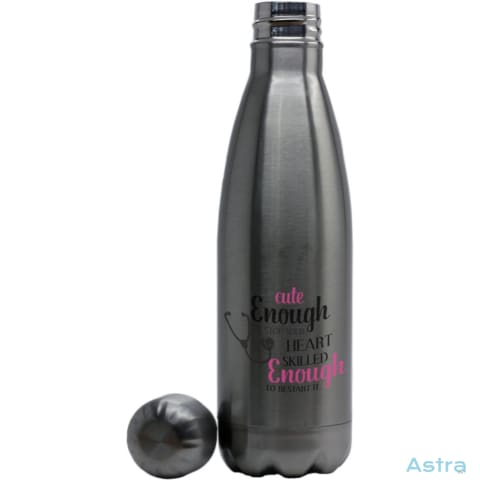 Cute Enough To Stop Hearts Coke Bottle Shaped Water Bottle Stainless Silver Drinkware 10-20 Drinkware Mothers-Day Nurse Nursing $17.99