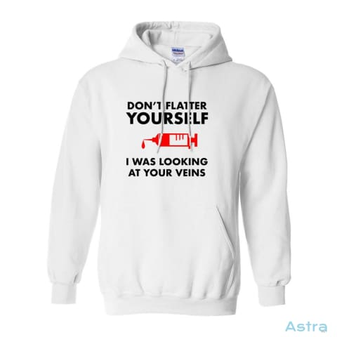 Dont Flatter Yourself Heavy Blend Hooded Sweatshirt X-Large / White. Apparel 30-40 Antique-Sapphire Apparel Clothing Dark-Heather $34.95