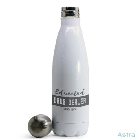Educated Drug Dealer Coke Bottle Shaped Water Bottle White Drinkware Drinkware Nurse Predrink Premade Stainless $24.95 Astraest.com: