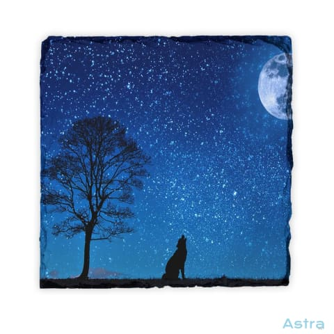 Howl At The Moon Square Photo Slate Home Decor 10-20 Animal-Lovers Animals Fathers-Day Homedecor $18.99 Astraest.com: Astraest