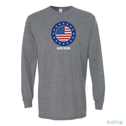 #lovetheusa Heavy Cotton Long Sleeve T-Shirt Apparel Apparel Black Clothing Graphite-Heather Long-Sleeve $23.95 Astraest.com: Astraest