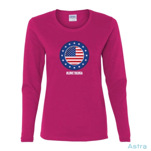 #lovetheusa Heavy Cotton Womens Long Sleeve T-Shirt Apparel Apparel Black Clothing Heliconia T-Shirt $23.95 Astraest.com: Astraest