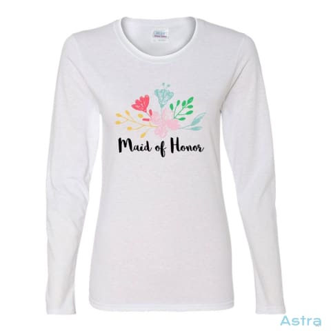 Maid Of Honor Heavy Cotton Womens Long Sleeve T-Shirt Apparel Apparel Black Clothing Heliconia T-Shirt $23.95 Astraest.com: Astraest