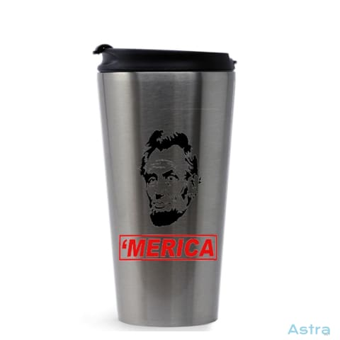 Merica 16Oz Stainless Steel Tumbler Stainless Silver Drinkware Drinkware Fathers-Day Forth Independence-Day Memorial-Day $22.99