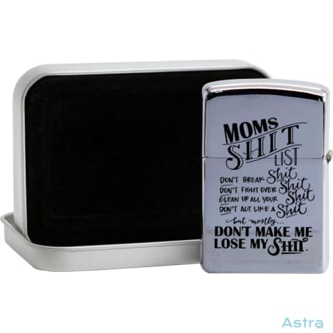 Moms Shit List Flip Lighter Silver Home Decor Birthday Comic Flip-Lighter Funny Homedecor $19.95 Astraest.com: Astraest