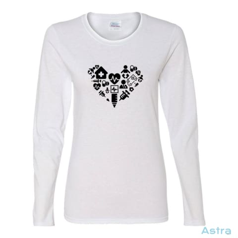 Nursing Heart Icons Heavy Cotton Womens Long Sleeve T-Shirt Apparel Apparel Black Clothing Feature Featured $23.95 Astraest.com: Astraest