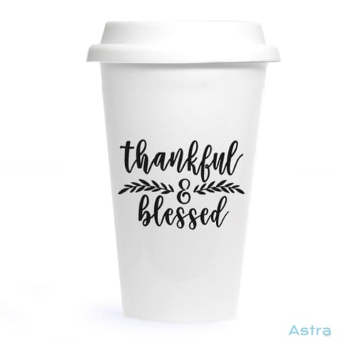 Thankful & Blessed Ceramic Travel Tumbler Drinkware 20-30 Birthday Ceramic Drinkware Predrink $24.99 Astraest.com: Astraest