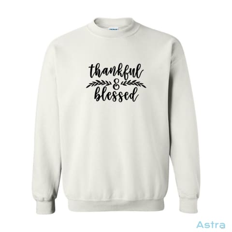 Thankful & Blessed Heavy Blend Cotton Crewneck Sweatshirt Apparel 20-30 Antique-Sapphire Apparel Autumn Black $24.99 Astraest.com: Astraest