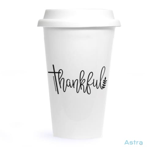 Thankful With Cross Ceramic Travel Tumbler Drinkware 20-30 Birthday Ceramic Drinkware Predrink $24.99 Astraest.com: Astraest