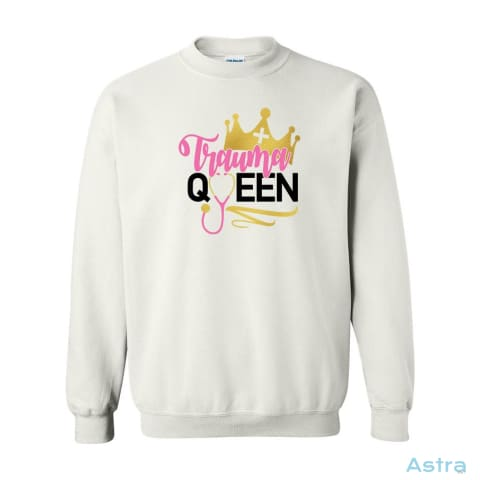 Trauma Queen Heavy Blend Cotton Crew-Neck Sweatshirt Apparel 10-20 Antique-Sapphire Apparel Black Clothing $19.99 Astraest.com: Astraest
