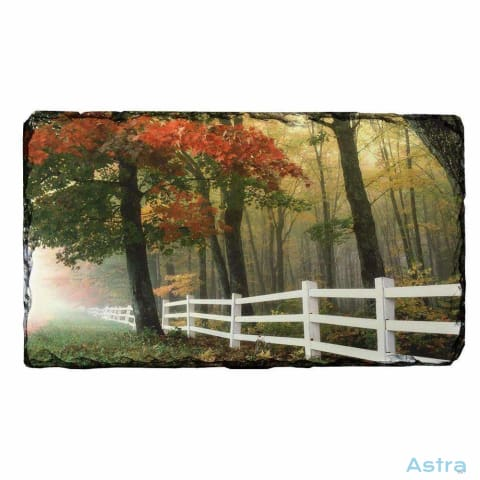 White Fence Rectangle Photo Slate Home Decor 10-20 Homedecor Household-1 Nature Photo-Slate $14.99 Astraest.com: Astraest