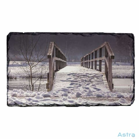 Winter Bridge Rectangle Photo Slate Home Decor 10-20 Christmas Homedecor Household-1 Photo-Slate $14.99 Astraest.com: Astraest