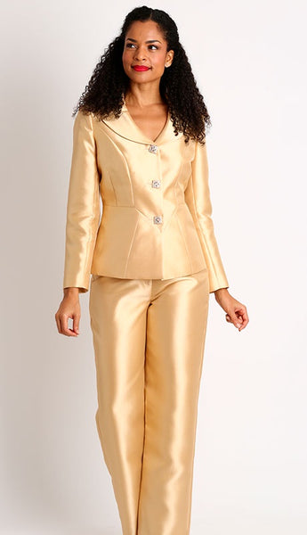 Diana White Silky Twill Pant Suit 8427 Holiday 2019