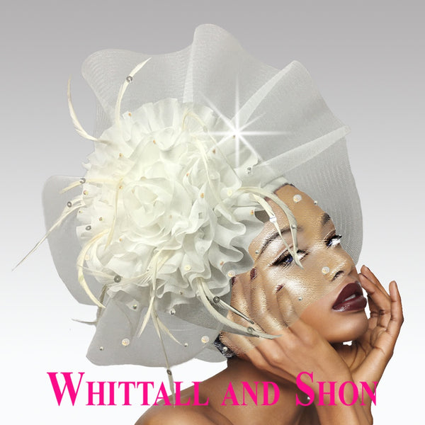 Whittall & Shon Off-White Ruffle and Illusion Bubble Hat 2637 HOLLY Spring 2020