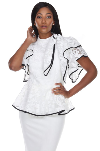 Capriana Couture White/Black Top RA-033 Spring 2020