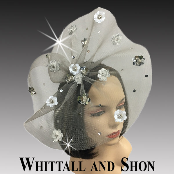 Whittall & Shon Silver-White Sequin Floral Paillette Fascinator Hat FA2433 ASTER Fall 2019