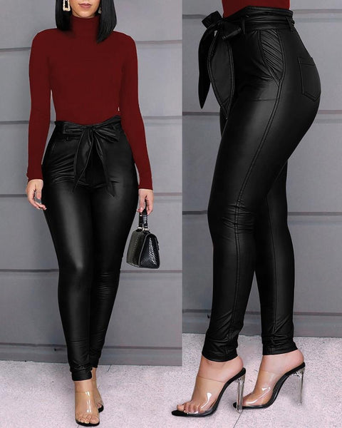 Black High Waist Stretch Plus Size Faux Leather Pant Fall 2020