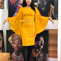 Yellow Chiffon Dress with Belt RTS1739 Fall 2020