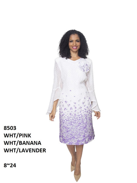 Diana White and Lavender Dress 8503 Spring 2020