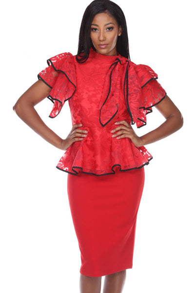 Capriana Couture Red Top RA-033 Spring 2020