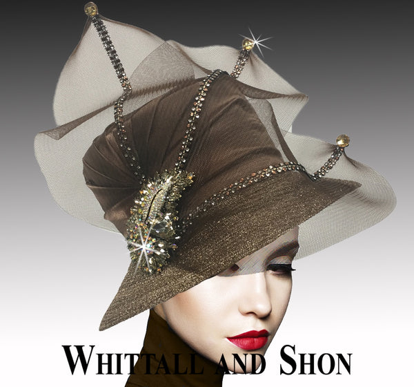 Whittall & Shon Brown Classic Mesh Bucket w Jewel Leaves  Hat 2533 MURPHY Fall 2019