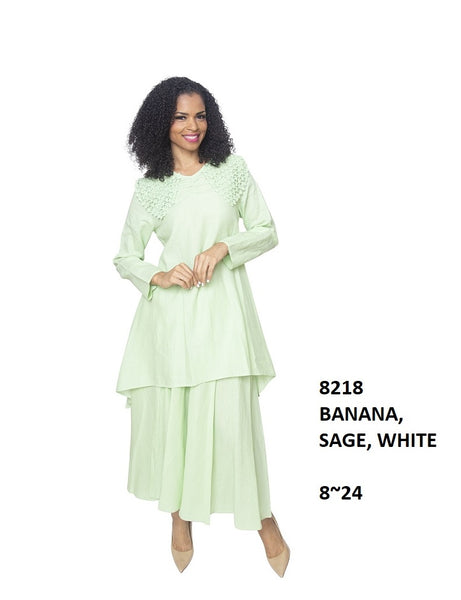 Ella Belle White Linen Set 8218 Spring 2020