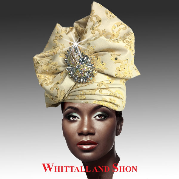 Whittall & Shon Ivory Exotic Draped Turban with Jewel Brooch Hat 2518 ABABA Fall 2019