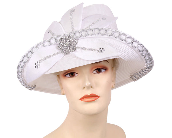 Ms Divine White Fashion Hat 13-1075 Spring 2020