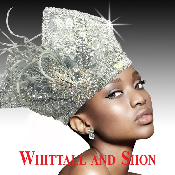 Whittall & Shon Silver Highly Embellished Pillbox Hat with Sculptured Bow 2514-TAPESTRY Fall 2019
