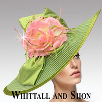 Whittall & Shon Lime Pink Ethereal Illusion Brim with Flower Hat 2631 Cecil Spring 2020