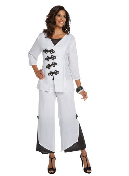 Lisa Rene White and Black Linen Jacket, Cami & Pant Set 3339 Markdown 2019