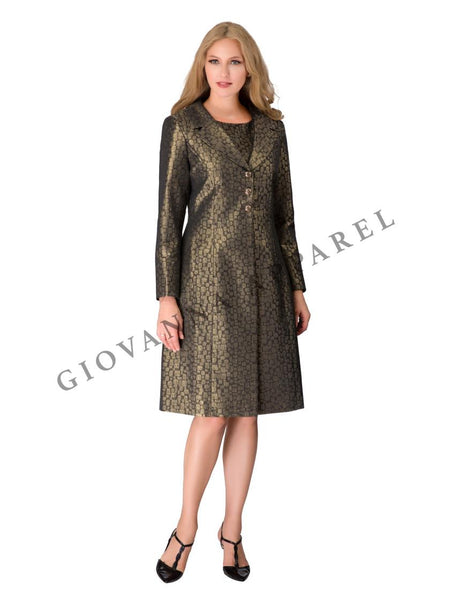 Giovanna Antique Gold 2pc Long Coat Dress G1112 Holiday 2019