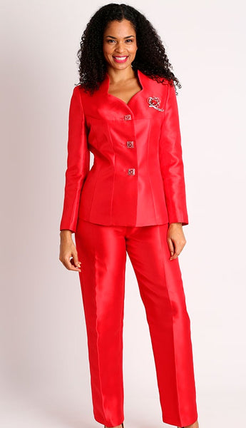 Diana Red Silky Twill Pant Suit 8428 Holiday 2019