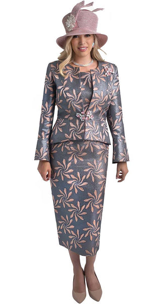 Lily And Taylor Grey Multi Floral Suit 4408 Fall 2019