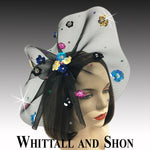 Whittall & Shon Black-Multi Sequin Floral Paillette Fascinator Hat FA2433 ASTER Fall 2019